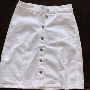 I Crew White Denim Button Up The Front Skirt